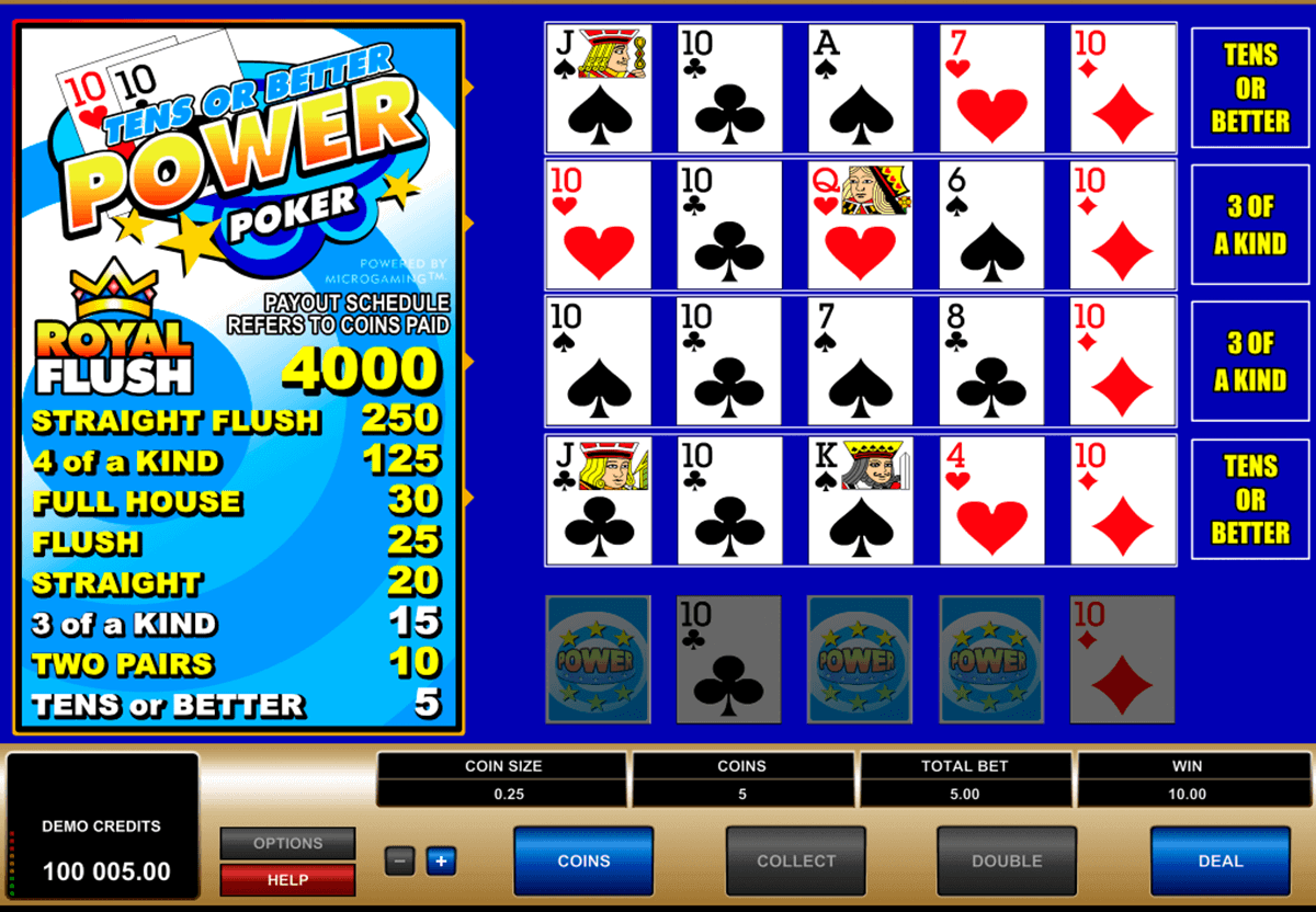 Tens or Better 4 Play Power Poker